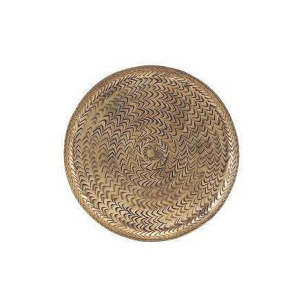 Tray Ratta brass finish dia 20 cm
