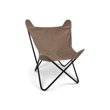 Stol i sammet Beige, svarta ben Polyester metallben