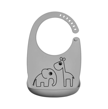 Silicone Bib Deer Friends grey