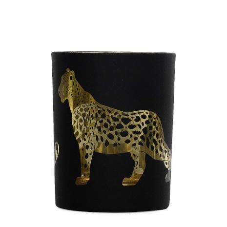 Tealightholder Glass Jaguar black Large