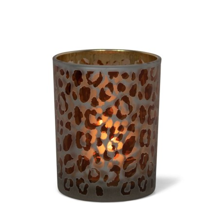 Tealightholder Glass Leopard print medium