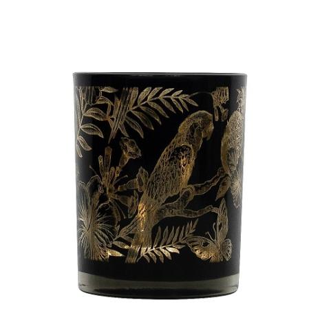 Tealightholder Glass Farn gold medium