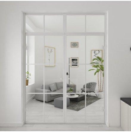 Industrivägg Dörr + dörr ovanliggare vit