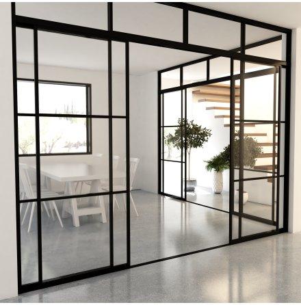 Skjutdörr 4 dörrar + ovanliggare svart