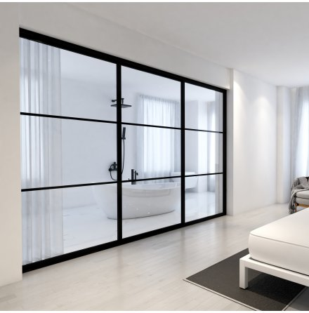 Skjutdörr 2 dörrar + vägg svart