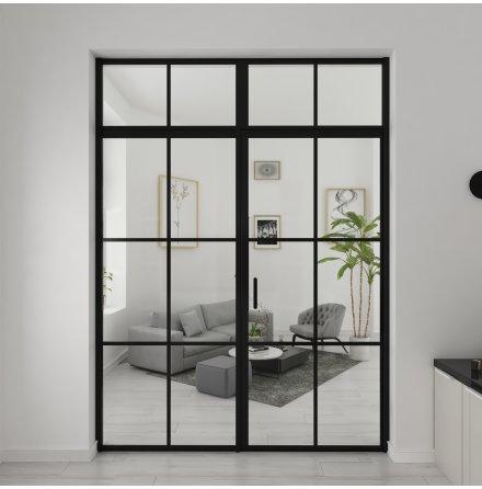 Industrivägg Dörr + vägg + ovanliggare svart