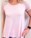 T-shirt med spets Rosa S