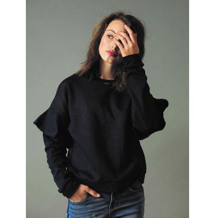 Sweatshirt med Volang, Blå