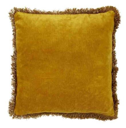 Kuddfodral, Pure, Sammet med fransar, Senapsgul, 45x45 cm, Jakobsdal