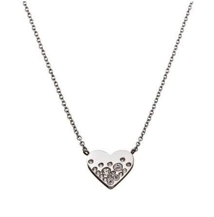 Halsband Sparkle Heart, Stål, Edblad