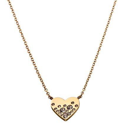 Halsband Sparkle Heart, Guld, Edblad