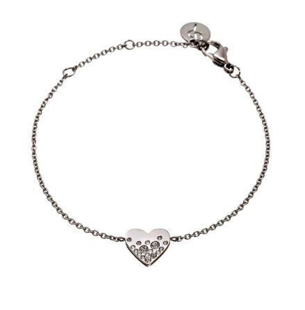 Armband Sparkle Heart, Stål. Edblad