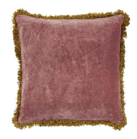 Kuddfodral, Pure, Sammet med fransar, Rosa, 45x45