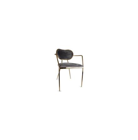 Stol i sammet SOFIA grå/guld