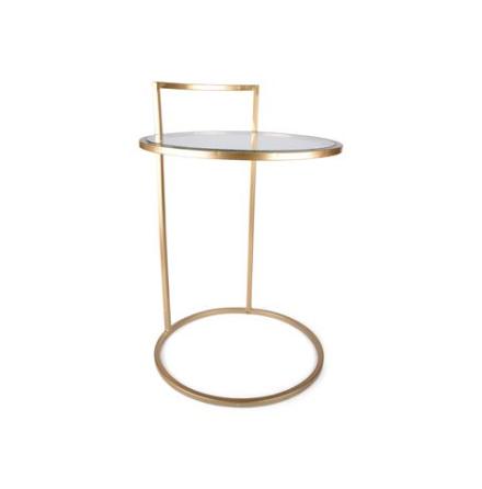 Bord med glasskiva rund guld/glas