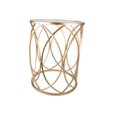 Bord med glasskiva Cirklar guld/glas