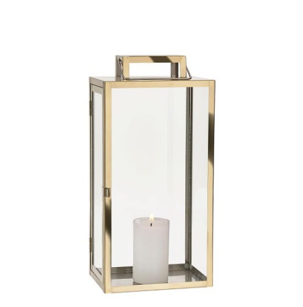 Lantern rostfri stål glas mässing klar H 37,5 l 18,0 bredd 14 cm gåvoask