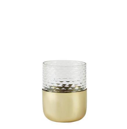 Värmeljusstake glas metall klar guld